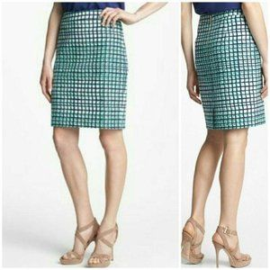 Kate Spade Judy Pencil Teal White Skirt size 8 New